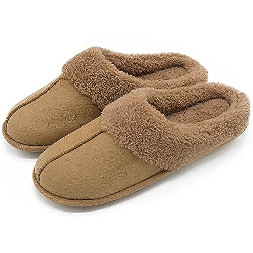 HomeTop Men's & Women's Micro Suede Plush Fleece Lined Slip On Memory Foam  Indoor Clog House Slippers (Men/Camel, 13-14 D(M) US)