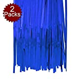 Aspire 2-Pack X 3ft X 8ft Foil Fringe Shiny Long Window Tinsel for Party Prom Birthday Event Decorations-Blue-3'x8'