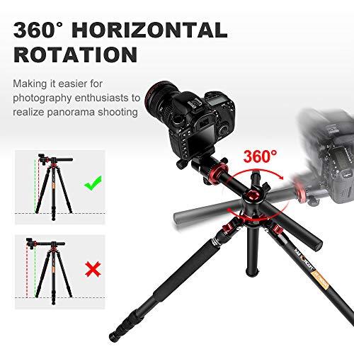 K&F Concept TM2534T DSLR Camera Tripod 66 Inch Portable Magnesium Aluminium Monopod 4 Section Professional Tripods with… 3