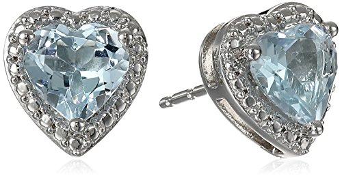 Heart Shaped Aquamarine Earrings - 1