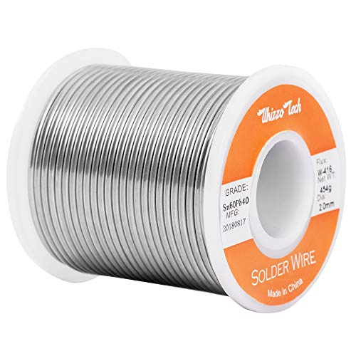 (Whizzotech Solder Wire 60/40 Tin/Lead Sn60Pb40 with Flux Rosin Core for Electrical Soldering 1LB .078''/2mm)