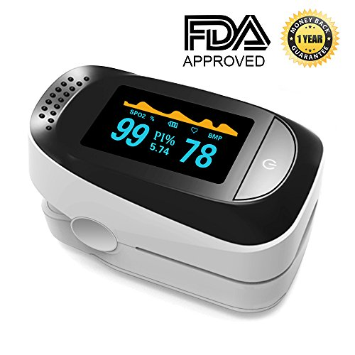 Pulse Oximeter Portable Digital Oxygen Sensor with SPO2 Alarm FDA Approved For Adults and Children
