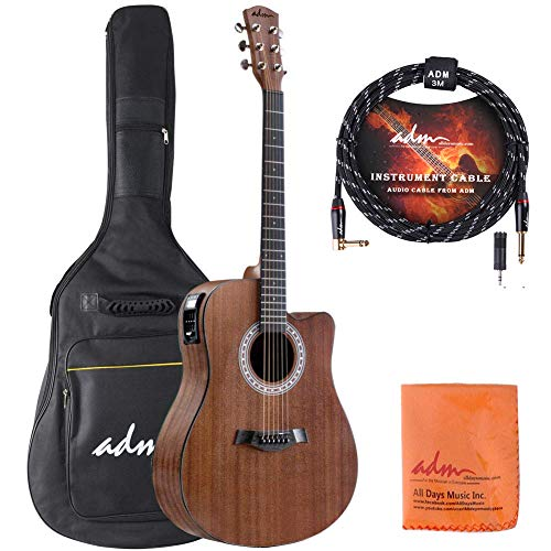 ADM Full Size Acoustic Electric Cutaway Dreadnought Guitar 41 Inch Handmade Wood Guitar with EQ, Built in Tuner, Mahogany