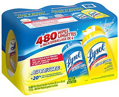 Lysol Disinfecting Wipes, 480 Wipes 6 Packs of 80 Wipes, (Lemon & Spring Waterfall) by Lysol (Image #1)