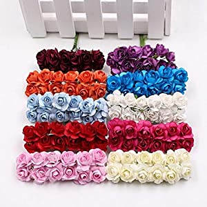 12 Pieces/Lot Artificial Flower Mini Cute Paper Rose Handmade For Wedding Decoration DIY Wreath Gift Scrapbooking Craft Fake Flower 68