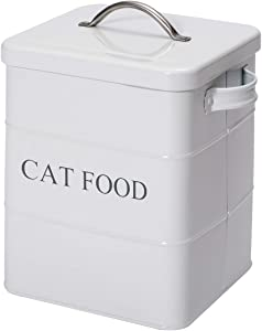 Geyecete airtight CAT Treat Container bin and CAT Food Storage Tin with Lid with Handle Serving Scoop Included Cream Powder - Coated Carbon Steel - Tight Fitting Lids