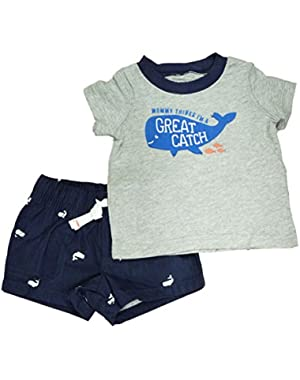 Carters Infant Boys 2 Piece Navy Blue Great Catch Whale T-Shirt & Shorts Set