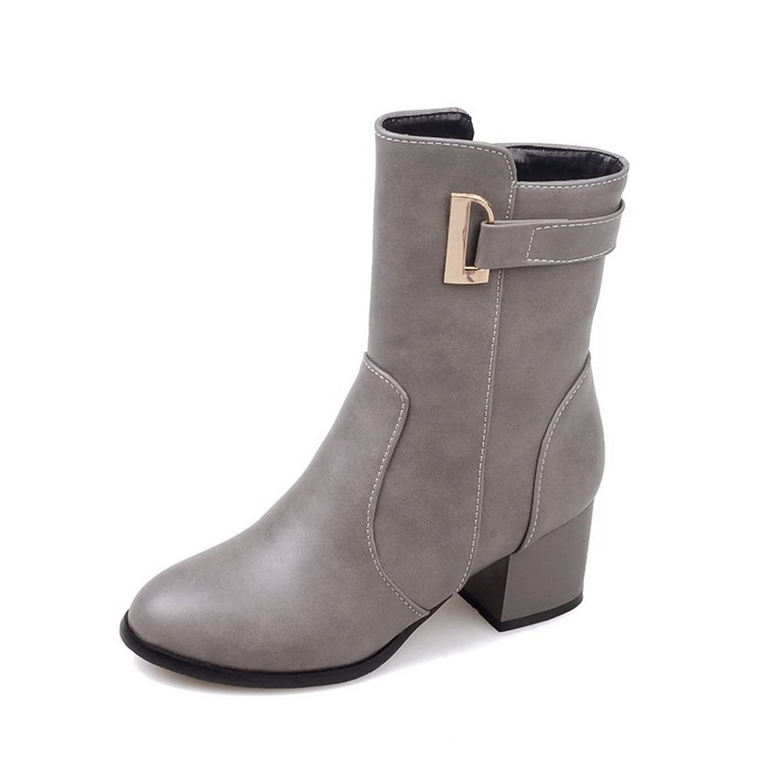 1TO9 Ladies Buckle Romanesque Style Fashion Riding Boots Imitated Leather Boots