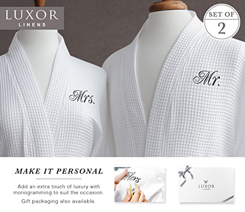 Luxor Linens Waffle Weave Spa Bathrobe - Ciragan Collection - Luxurious, Super Soft, Plush & Lightweight - 100% Egyptian Cotton, Made in Turkey (Mr./Mrs. With Gift Packaging) by Luxor Linens (Image #3)
