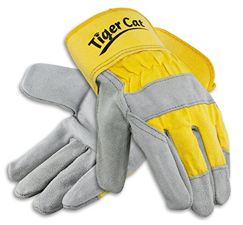 Galeton 2112-L Tiger Cat Premium Leather Palm Gloves, Safety Cuff, Large, Yellow (Pack of 12)