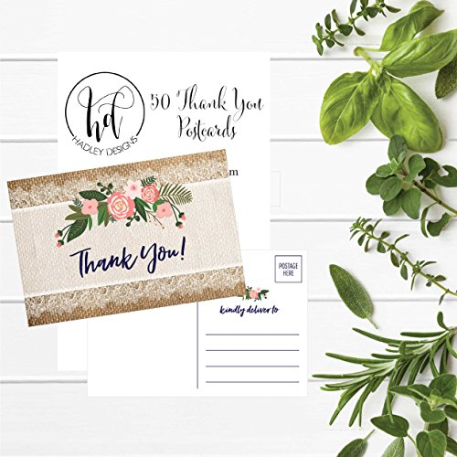 50 4x6 Rustic Flower Thank You Postcards Bulk, Cute Kraft Floral Watercolor Note Card Stationery For Wedding, Bridesmaid, Bridal or Baby Shower, Teachers, Appreciation, Religious, Business, Holiday Photo #3