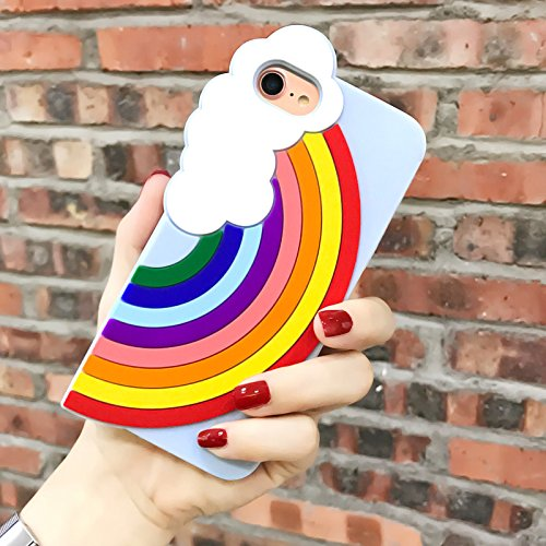 Soft Silicone Blue Rainbow Phone Case for iPhone7 8 iPhone7 iPhone8 Regular Size 4.7 Screen 3D Colorful Summer Pretty Luxury Designer Cute Pretty Cute Chic High Fashion Delicate Fresh Girls - Instagram The Arrivals
