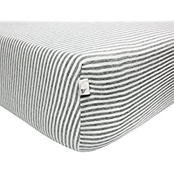 Burt's Bees Baby - Fitted Crib Sheet, Thin Stripes, 100% Organic Cotton Crib Sheet For Standard Crib and Toddler Mattresses (Heather Grey)