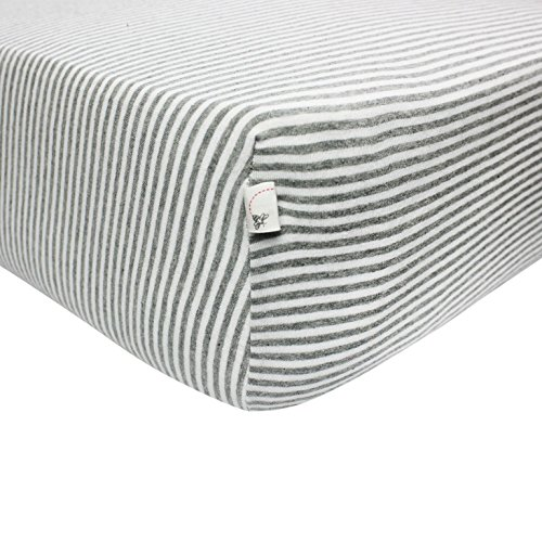Burt's Bees Baby - Bee Essentials Stripe Fitted Crib Sheet, 100% Organic Crib Sheet for Standard Crib and Toddler Mattresses (Heather Grey)