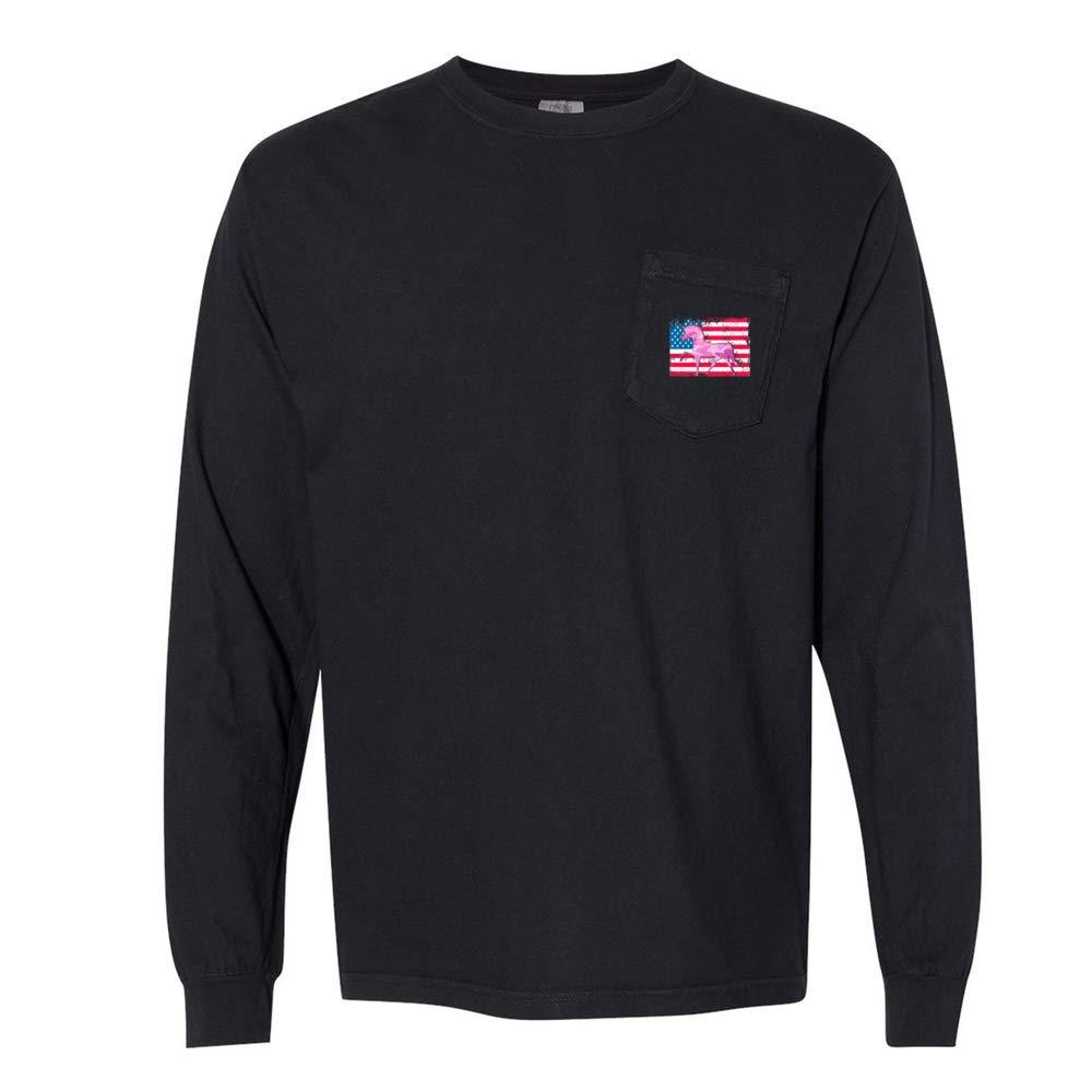 Unicorn USA Camo Patriotic Flag Unisex Long Sleeve Pocket T-Shirt