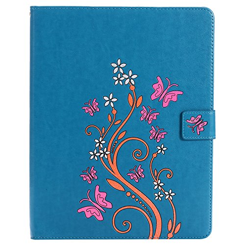 Price comparison product image Fitmore For iPad 2 3 4 Flower Pattern PU Leather Tablet Case Flip Stand Cover with Wallet Card Slots (Blue)