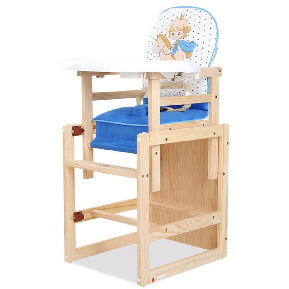 【DEARGENA】木製ハイチェア 赤ちゃん用 多機能 ハイチェア ベビーチェア 子供 お食事椅子 横転を防ぎ 昇降OK 取外しOK (ブルー+ホワイト)  ブルー+ホワイト B07KCF5Y36