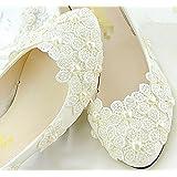 6ffb4c8c18e6 Shoes XINJING-S XINJING-S Ivory white lace pearl Wedding shoes Bridal flat  low