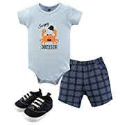 Hudson Baby Baby Cotton Bodysuit, Shorts and Shoe 3 Piece Set, Crab, 0-3 Months