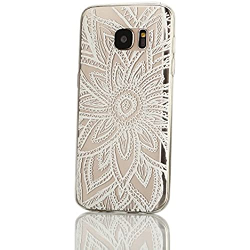 Galaxy S7 Case, Weline White Geometric Flower Pattern Ultra Thin Crystal Clear Rubber Gel Scratch Resistant TPU Sales