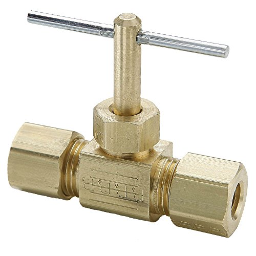 Needle Valve Brass Fitting - Parker NV105C-5-pk5 Needle Valve, Compression to Compression, Brass, Compress-Align and Compression in Line, 5/16