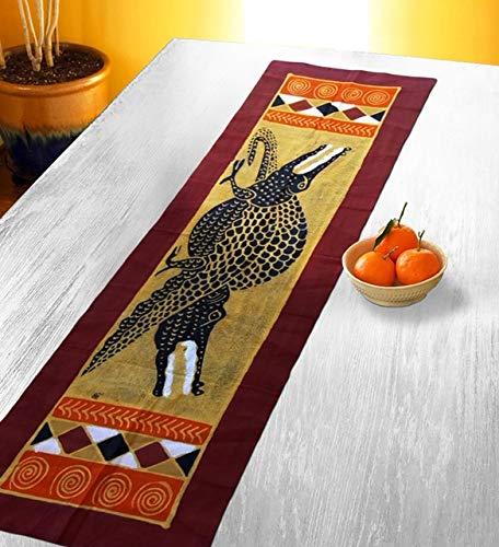 テーブルランナー タートルズ ユニーク カラフル テーブル装飾 ウォールアート デザイン バティックキャンバス素材 ブラウン  Brown Orange Gold,white Black-j B07JYRCV9N