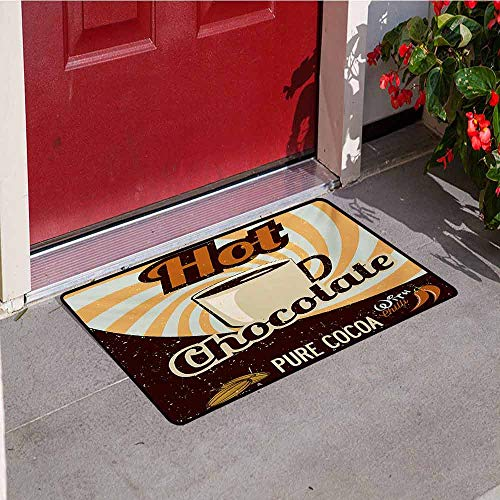 Jinguizi Retro Inlet Outdoor Door mat Old Hot Chocolate Commercial in Funky Shaded Color with Cocoa Beans and Mug Print Catch dust Snow and mud W47.2 x L60 Inch Multicolor