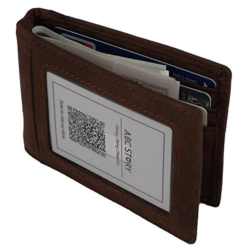 ABC STORY Mens Cool Vintage Cow Leather Small Front Pocket Slim Wallet Money Clip Brown