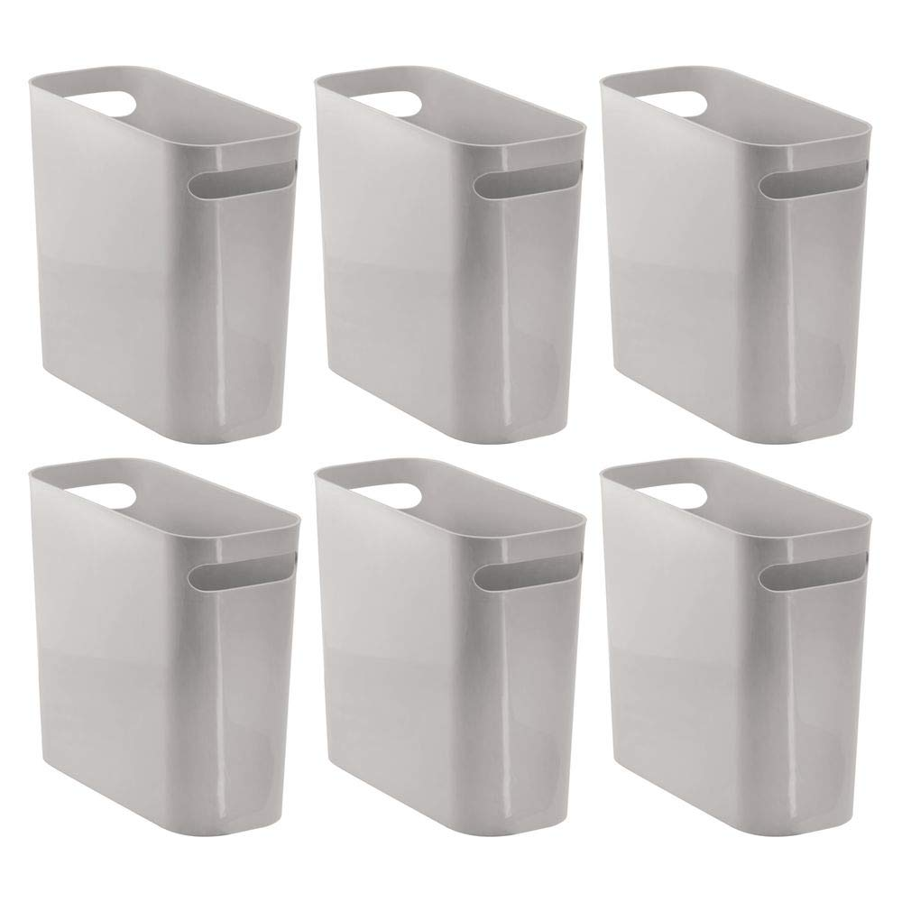 mDesign Slim Plastic Rectangular Small Trash Can Wastebasket, Garbage Container Bin with Handles for Bathroom, Kitchen, Home Office, Dorm, Kids Room - 10'' High, Shatter-Resistant - 6 Pack - Gray