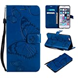 Amocase Wallet Leather Case with 2 in 1 Stylus for iPhone 6 Plus,Premium Strap 3D Butterfly Magnetic PU Leather Stand Shockproof Card Slot Case for iPhone 6 Plus/6S Plus - Blue