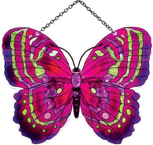 Joan Baker Designs SSE1016 5-1/4 by 7-Inch Purple/Magenta/Green Butterfly Art Glass (Purple Butterfly Stained Glass)