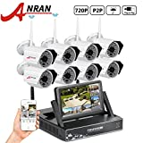 ANRAN 8 Channel 720P Wireless Home Security Camera System with 8x 720P HD 48IR for Night Vision IP Outdoor Security Camera WIFI NVR with 7″ Monitor without Hard Drive
