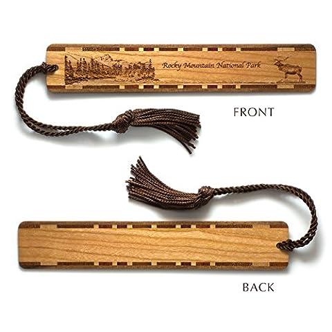 Rocky Mountain National Park, Wooden Bookmark - Original Engraving with Tassel - Colorado Rocky Mountain Natl Park