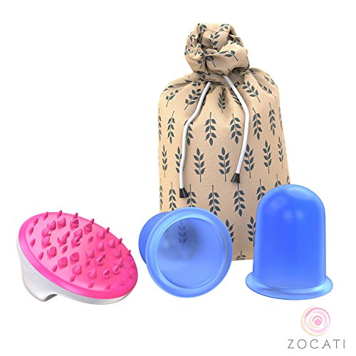 Zocati 3 Piece Cupping Therapy Anti-Aging Cellulite Cup Set Massage Removal Brush Fascia Wrinkle, Stress Reduction Suction Collagen, Myofacial Stimulator Silicone Release Kit Large - Massage Reduce Cellulite