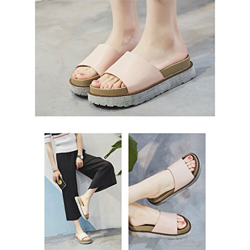 pie simples del abiertas fricción Sandalias de Zapatos ocio C dedo verano finas femeninas Col Sandalias desgaste del del Portátil de del cómodas gordas y Sandalias del la planas LIXIONG moda perezosa qxaB0vR