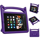 Fire HD 8 Case-5th 6th 7th Generation Kids Case Amazon Kindle Fire HD 8 Keyboard Case 2016/2017 (Purple)