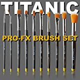 Titanic Pro-FX Full Brush Set – Includes all 10 brushes, Zip-Up Pouch, Mixing Palette – Prosthetic Makeup