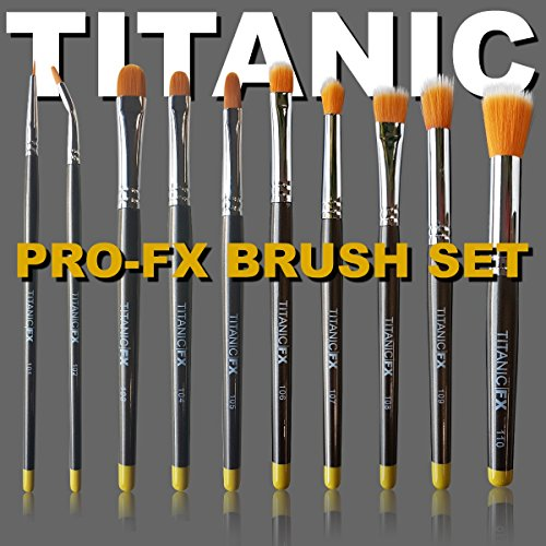 Titanic Pro-FX Full Brush Set – Includes all 10 brushes, Zip-Up Pouch, Mixing Palette – Prosthetic Makeup by Titanic FX