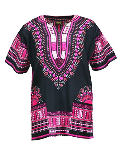 KlubKool Dashiki Shirt Tribal African Caftan Boho Unisex Top Shirt (Black/Pink,XXX-Large) by KlubKool
