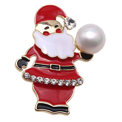 JYX Santa Claus-style White Freshwater Cultured Pearl Brooch Pin Christmas