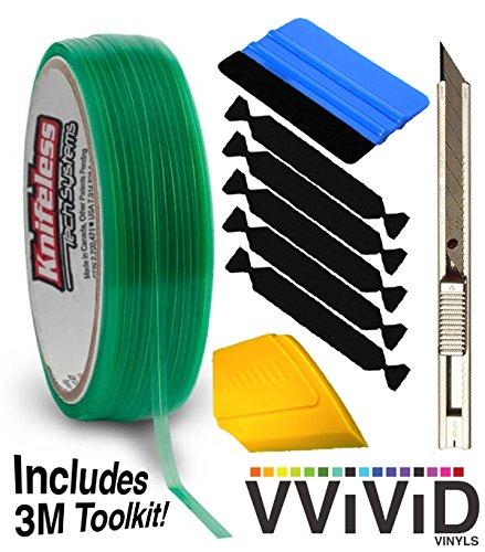 Knifeless Vinyl Wrap Cutting Tape Finishing Line 10M Plus 3M Toolkit (BluSqueegee,YlwSqueegee,5xBlckFlt&Knf)