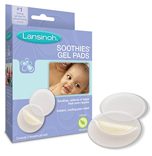 Lansinoh Soothies Gel Pads for Breastfeeding Mothers, 2 Count, Instant Cooling Pain Relief for Nursing Mothers, Reusable and Vegan