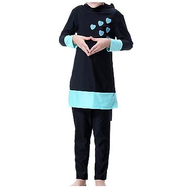 UK Kids Girls Muslim Swimwear Islamic Modest Full Cover Burkini Swimming Costume