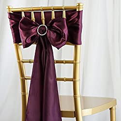BalsaCircle 50 Eggplant Purple Satin Chair Sashes Bows Ties for Wedding Party Ceremony Reception Event Decorations Supplies Cheap