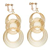 Dangle Earring Clip on Screw Back Circle Round Layered Statement for Women Fashion Jewelry Gold tone