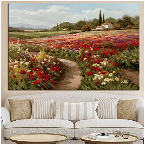 HYFBH Claude Monet Alamos Flor Impresionista Paisaje Pintura al oleo sobre Lienzo Carteles e Impresiones Cuadro de Pared para Sala de Estar 50x70cm (19 7x27 6) Sin Marco