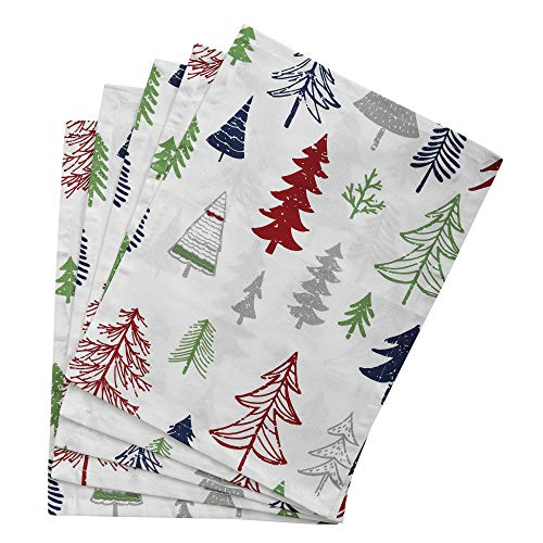 Set of 4 Placemats - Christmas Tree's design, 100% Cotton of Size 14