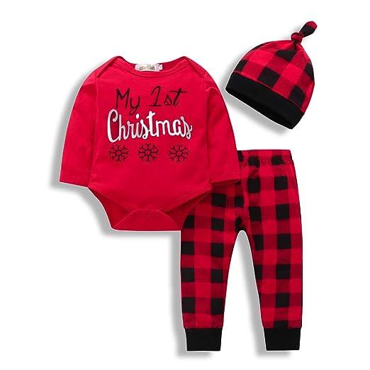 b4b115421368d Amazon.com: ZOELNIC Baby Girls Boys Plaid Clothes Set My First ...