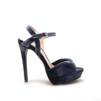 879cd9bfcbb3 Qupid avalon-173 Sexy Ice Blue Open Toe Platform High Heels Velvet Pump  Sandals (