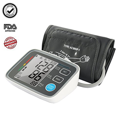 Automatic Digital Upper Arm Blood Pressure Monitor with Cuff Clinically Validated Sphygmomanometer, Medical Machine for Home Travel Use ,Large Screen Display,2 User Mode,FDA Approved BPM by Firhealth